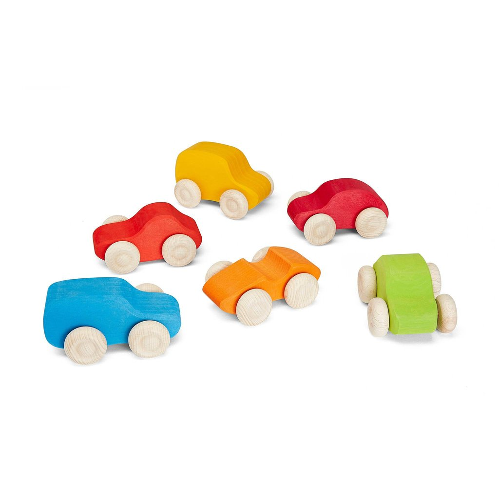 Grimm's Coloured Wooden Cars - Single - Grimms - Tiny Paper Co. Afterpay Toy Store Australia