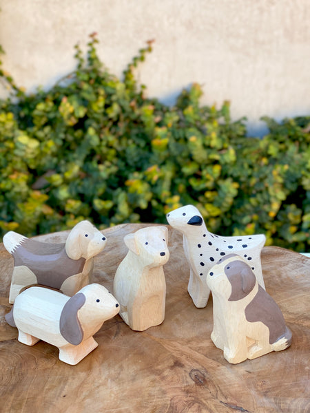 Hand Carved Wooden Dogs - Tiny Paper Co. - Tiny Paper Co. Afterpay Toy Store Australia