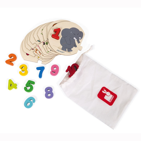 Learn To Count Puzzle with Wooden Numbers - Janod - Tiny Paper Co. Afterpay Toy Store Australia