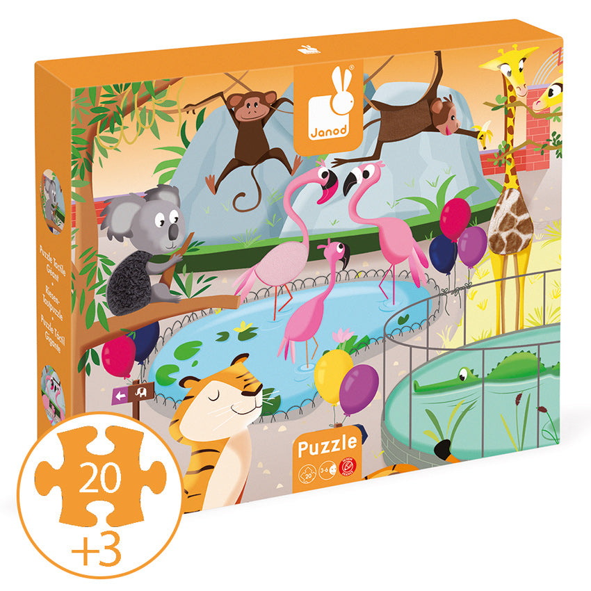 Zoo Tactile Puzzle 20pc - Janod - Tiny Paper Co. Afterpay Toy Store Australia