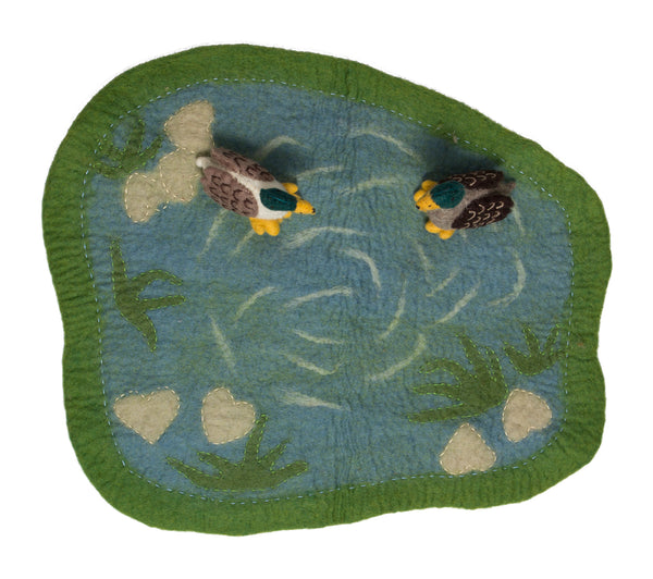 Papoose Toys Felt Duckpond Mat with Ducks - Papoose Toys - Tiny Paper Co. Afterpay Toy Store Australia