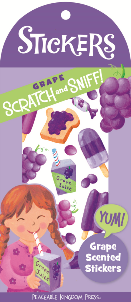 Mini Stickers Scratch & Sniff - Grape - Peaceable Kingdom - Tiny Paper Co. Afterpay Toy Store Australia
