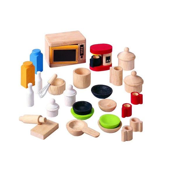 Kitchen and Tableware Dollhouse Accessories - Plan Toys - Tiny Paper Co. Afterpay Toy Store Australia