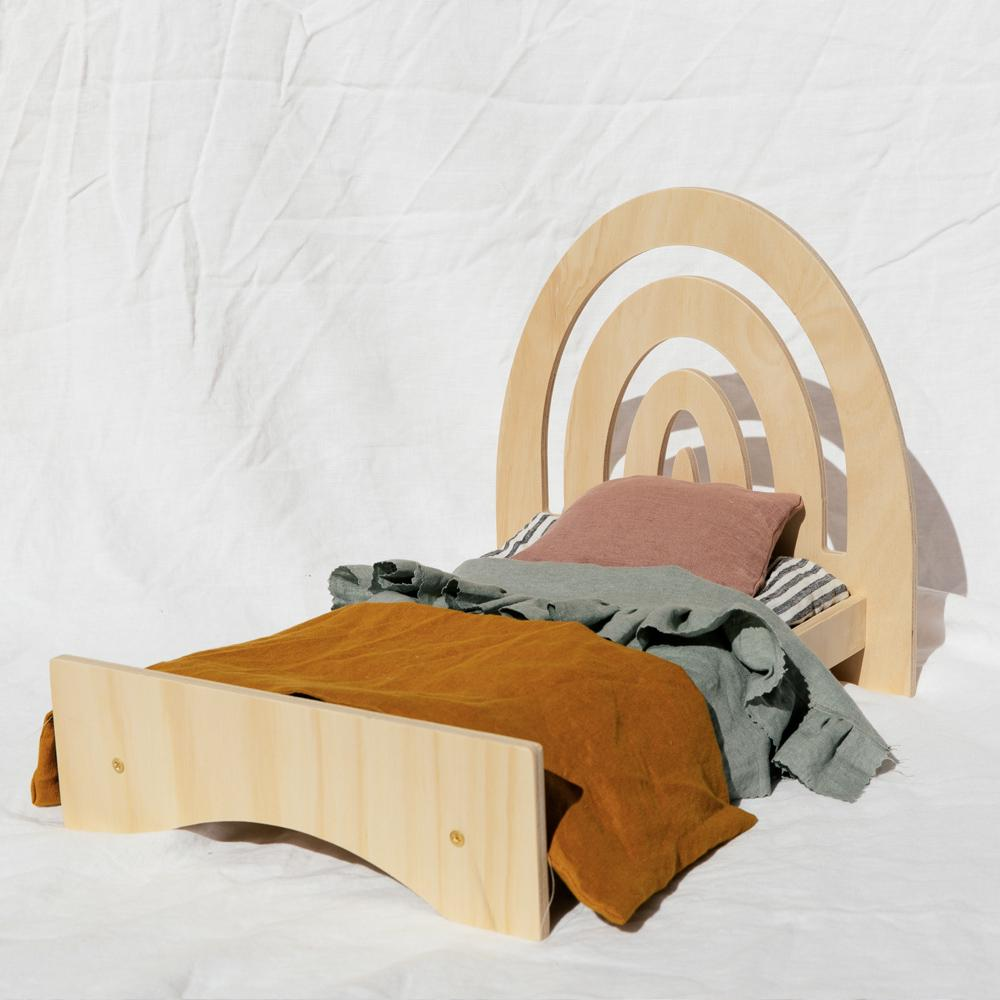 Rainbow Dolly Bed - Large - Pretty in Pine - Tiny Paper Co. Afterpay Toy Store Australia