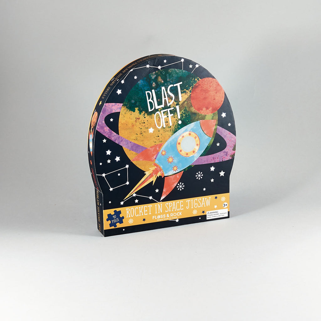 Blast off 40pc Jigsaw Puzzle - Floss and Rocks - Tiny Paper Co. Afterpay Toy Store Australia