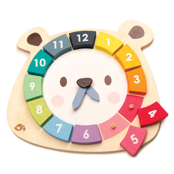 Bear Teaching Clock - Tender Leaf Toys - Tiny Paper Co. Afterpay Toy Store Australia
