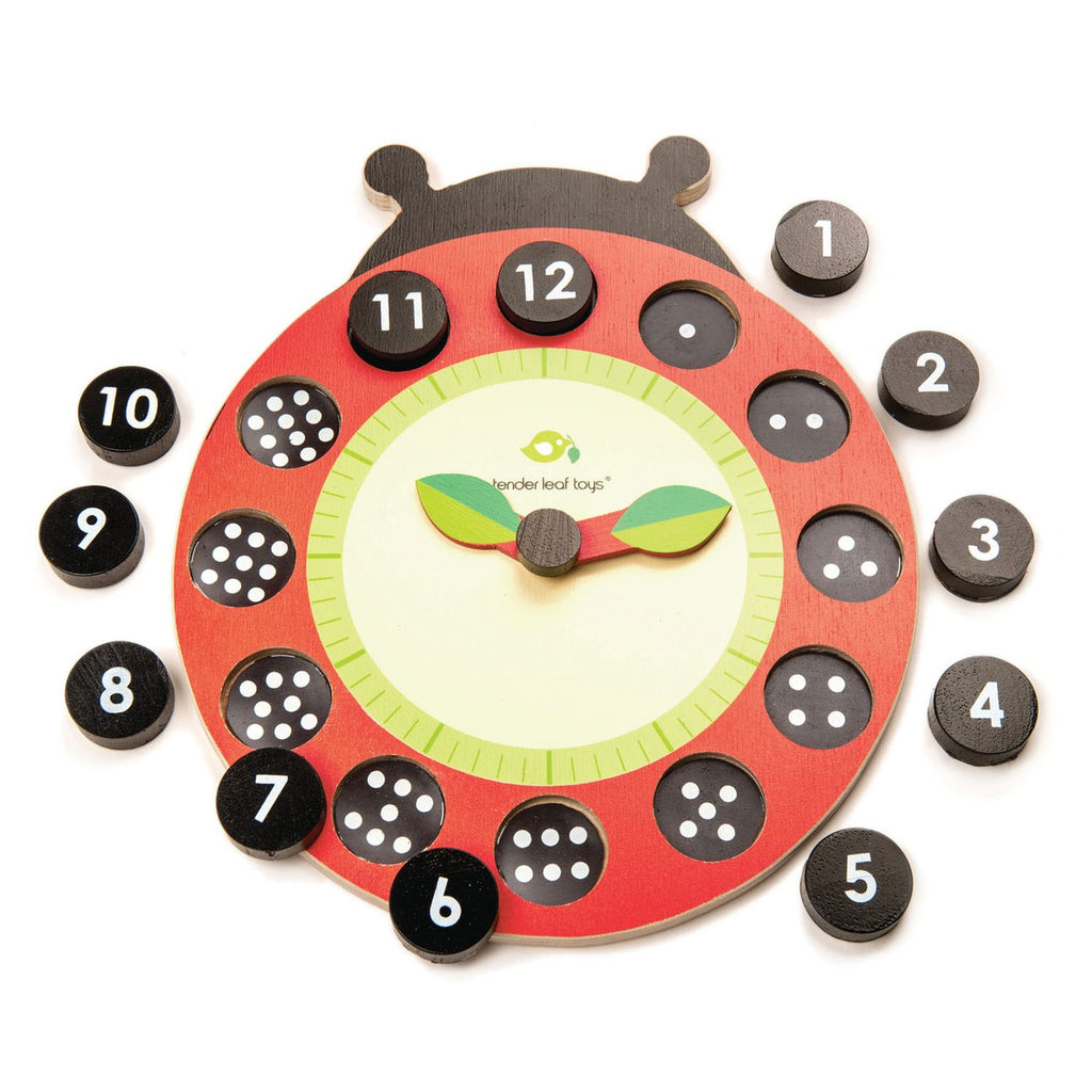 Ladybug Teaching Clock - Tender Leaf Toys - Tiny Paper Co. Afterpay Toy Store Australia