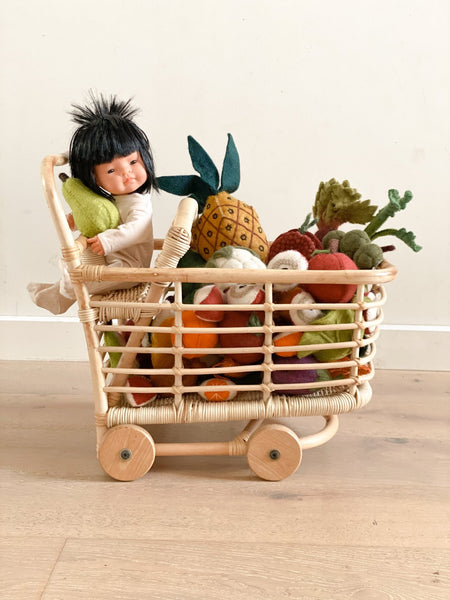 Tiny Harlow Rattan Shopping Trolley - Tiny Harlow - Tiny Paper Co. Afterpay Toy Store Australia