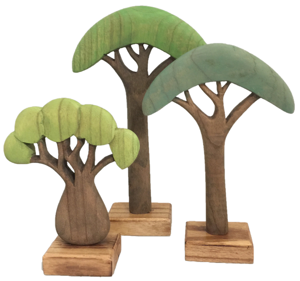 Papoose Toys Felt Wooden African Trees 3pcs - Papoose Toys - Tiny Paper Co. Afterpay Toy Store Australia