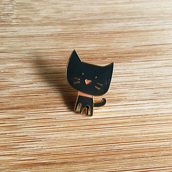 Black Cat Lapel Pin-Decor-Hello Miss May-Tiny Paper Co-Afterpay-Australia-Toy-Store - Hello Miss May - Tiny Paper Co. Afterpay Toy Store Australia