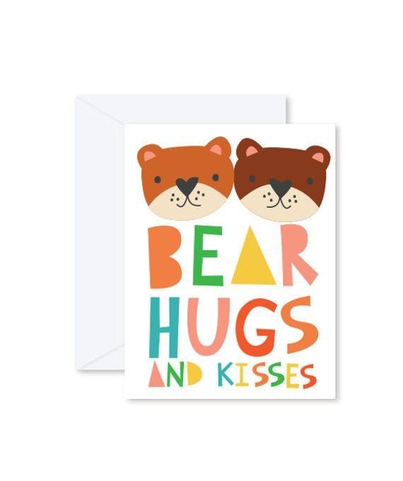 Greeting Cards - Bear Hugs and Kisses-Greeting Cards-Hello Miss May-Tiny Paper Co-Afterpay-Australia-Toy-Store - Hello Miss May - Tiny Paper Co. Afterpay Toy Store Australia
