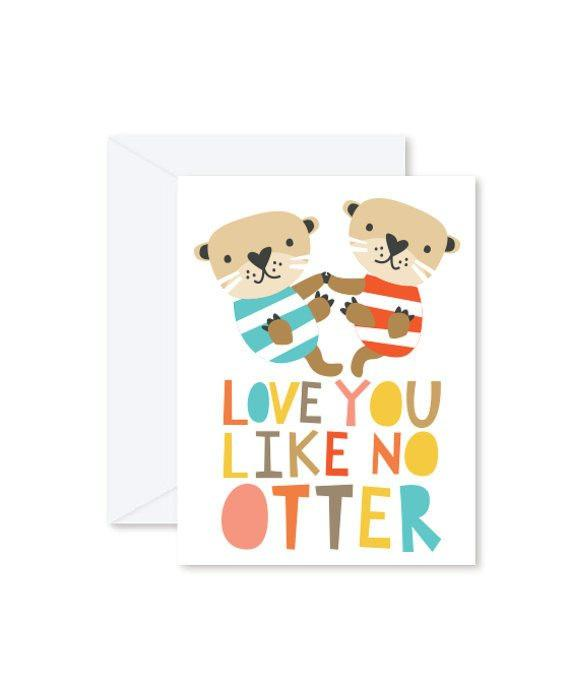 Greeting Cards - Love You Like No Otter-Greeting Cards-Hello Miss May-Tiny Paper Co-Afterpay-Australia-Toy-Store - Hello Miss May - Tiny Paper Co. Afterpay Toy Store Australia
