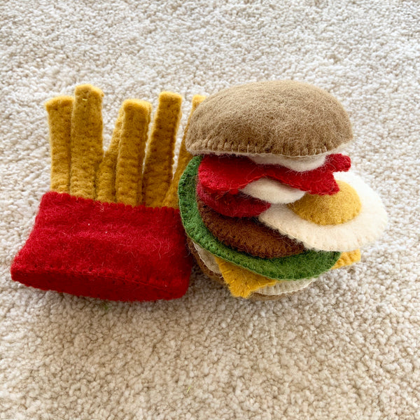 Papoose Toys Felt Burger and Chips Set - Papoose Toys - Tiny Paper Co. Afterpay Toy Store Australia