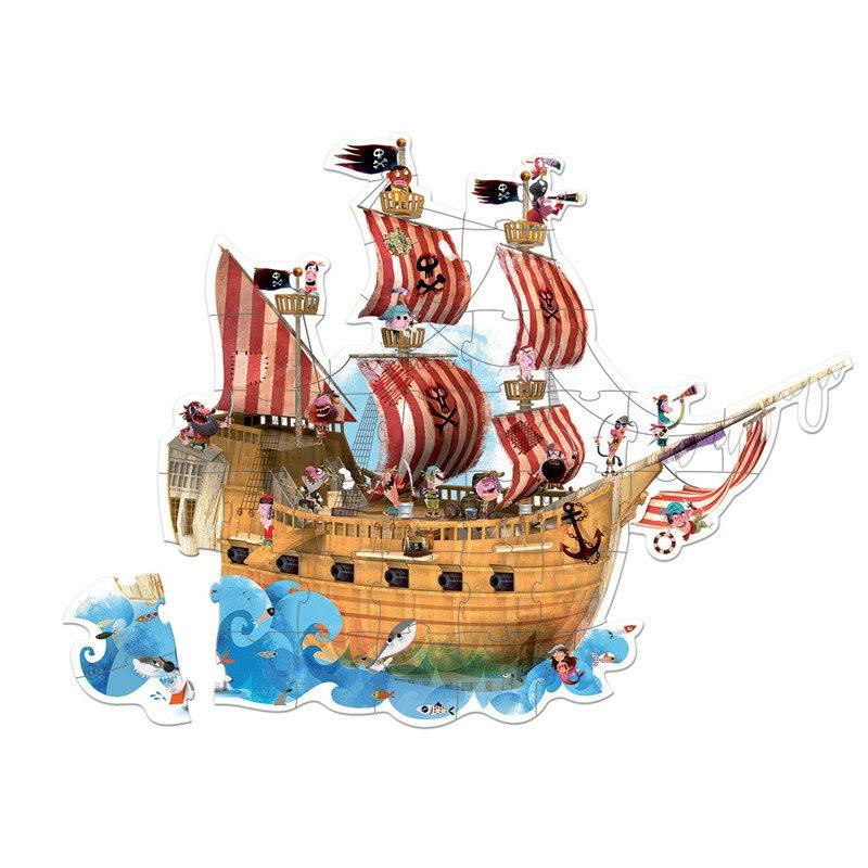 Pirate Ship 39pc Floor Puzzle-Puzzle-Janod-Tiny Paper Co-Afterpay-Australia-Toy-Store - Janod - Tiny Paper Co. Afterpay Toy Store Australia