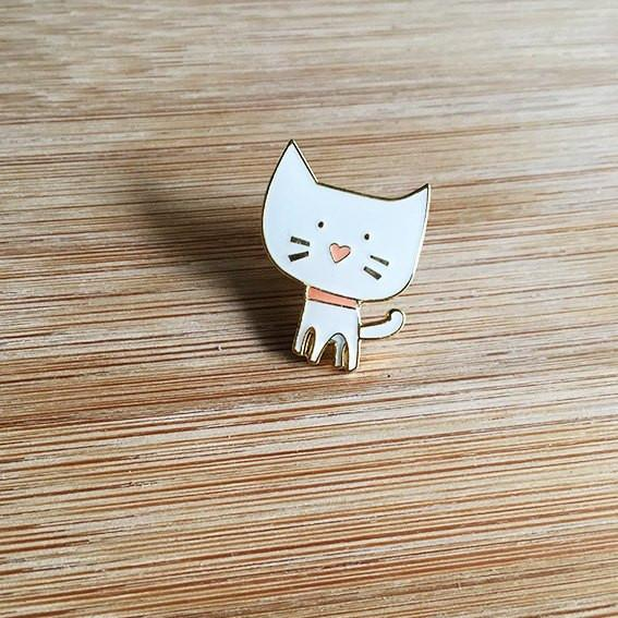 White Cat Lapel Pin-Decor-Hello Miss May-Tiny Paper Co-Afterpay-Australia-Toy-Store - Hello Miss May - Tiny Paper Co. Afterpay Toy Store Australia