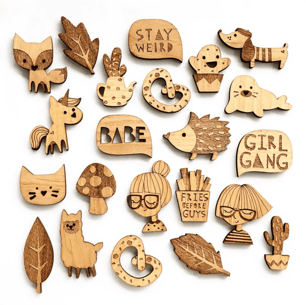 Wooden Brooches-Decor-Hello Miss May-Tiny Paper Co-Afterpay-Australia-Toy-Store - Hello Miss May - Tiny Paper Co. Afterpay Toy Store Australia