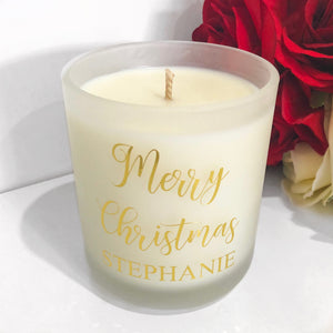 """Merry Christmas"" Candle with Name (Extra Large)"