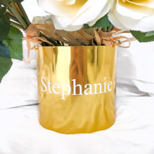 Load image into Gallery viewer, PERSONALISED GOLD METAL VASE