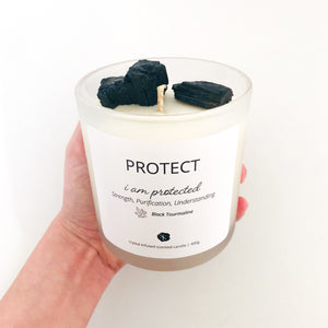 BLACK TOURMALINE Candle - Protection, Strength, Understanding