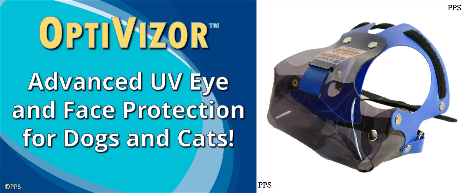 OptiVizor short snout UV eye and face protection for dogs and cats