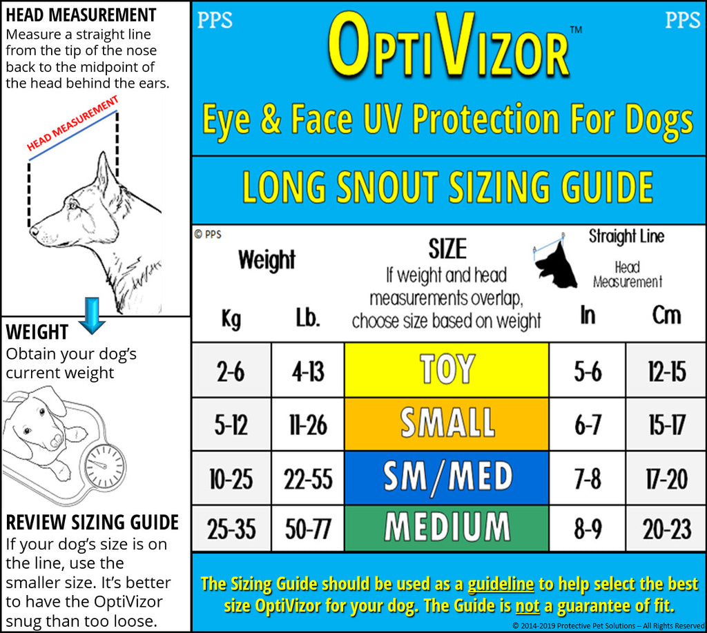 optivizor uv eye protection for dog - long snout version sizing guide
