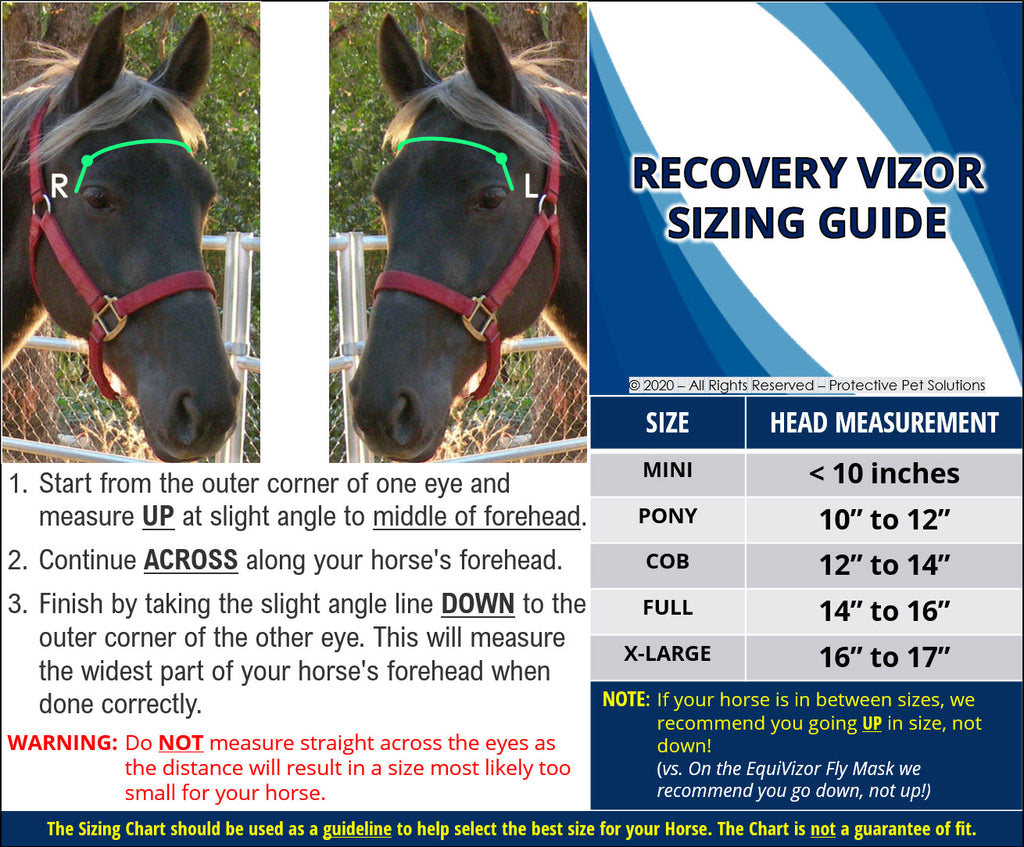 Recovery Vizor Sizing Guide