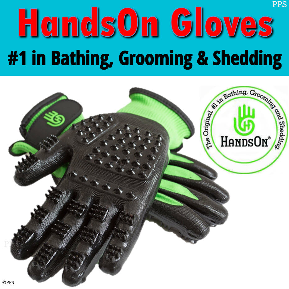 HandsOn Gloves - #1 Grooming, Bathing and Shedding Tool!