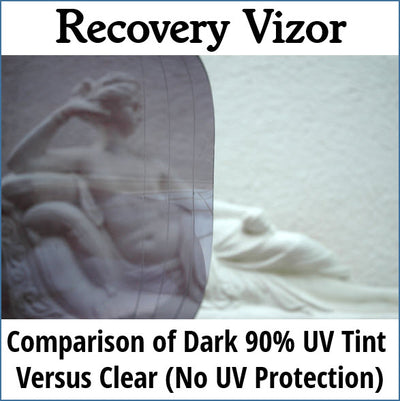 Recovery Vizor Dark UV Tint Comparison to Clear No UV Protection
