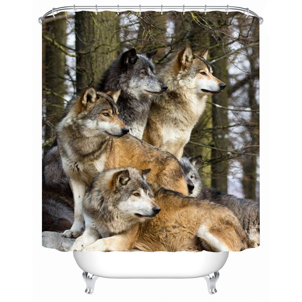 Waterproof Fabric Wolf Shower-Curtain