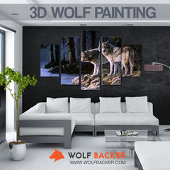 3D FOREST WOLVES PAINTING