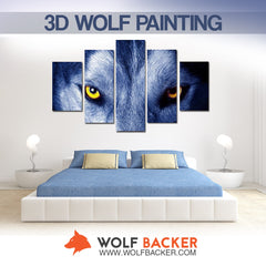 FREE SHIPPING - 3D ALPHA WOLF BLUE PAINTING