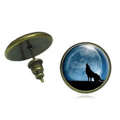 Glass Cabochon Wolf Art Stud Earrings