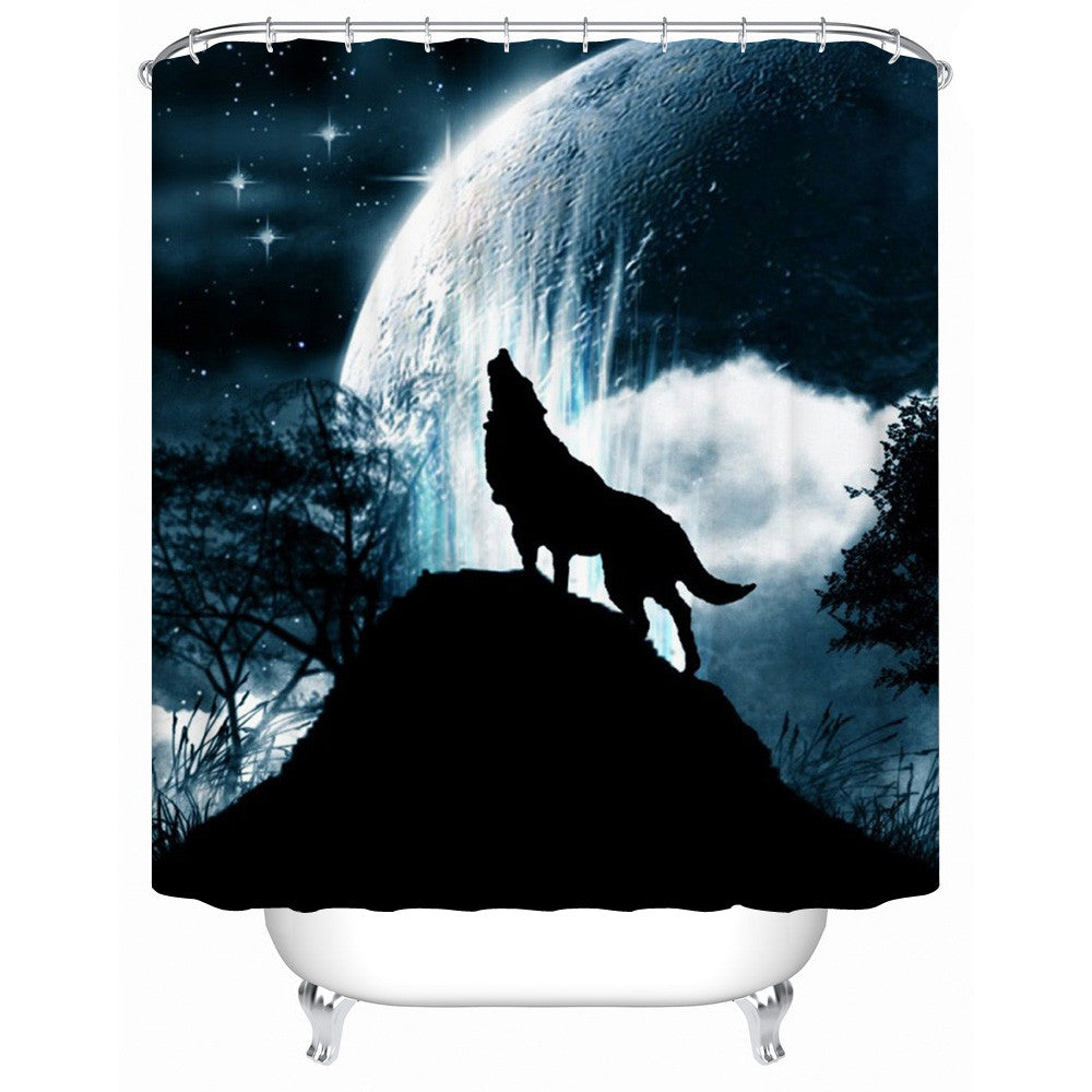Howling Moon Wolf Shower-Curtain