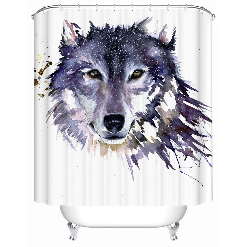 Abstract Wolf Shower-Curtain