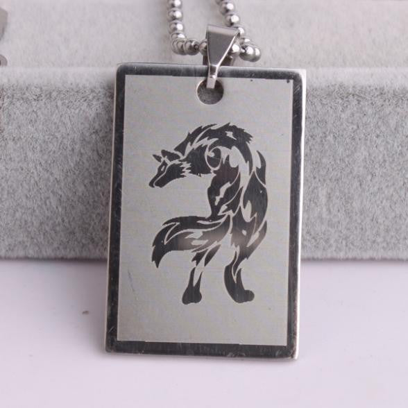 Silver tags wolf Stainless Steel bead chain