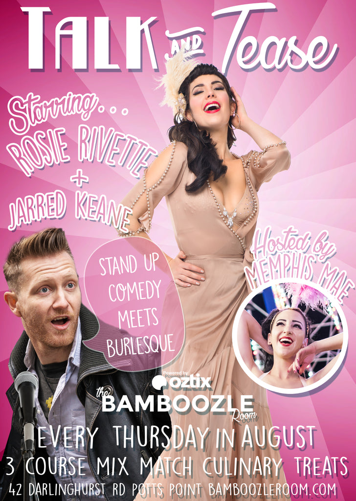 Talk and Tease -  Burlesque Comedy Stars - Tickets - Burlesque Sydney- The Bamboozle Room