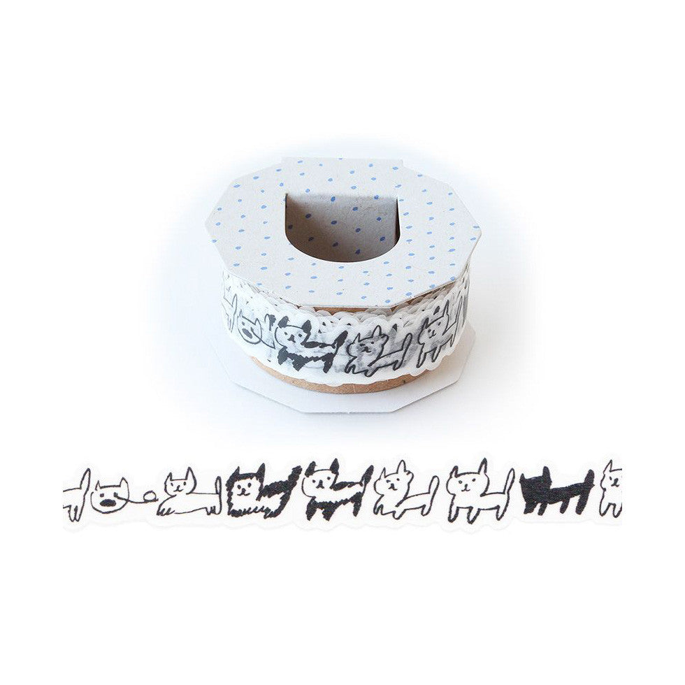 [Discontinued Item] AIUEO Neko Border Washi Tape