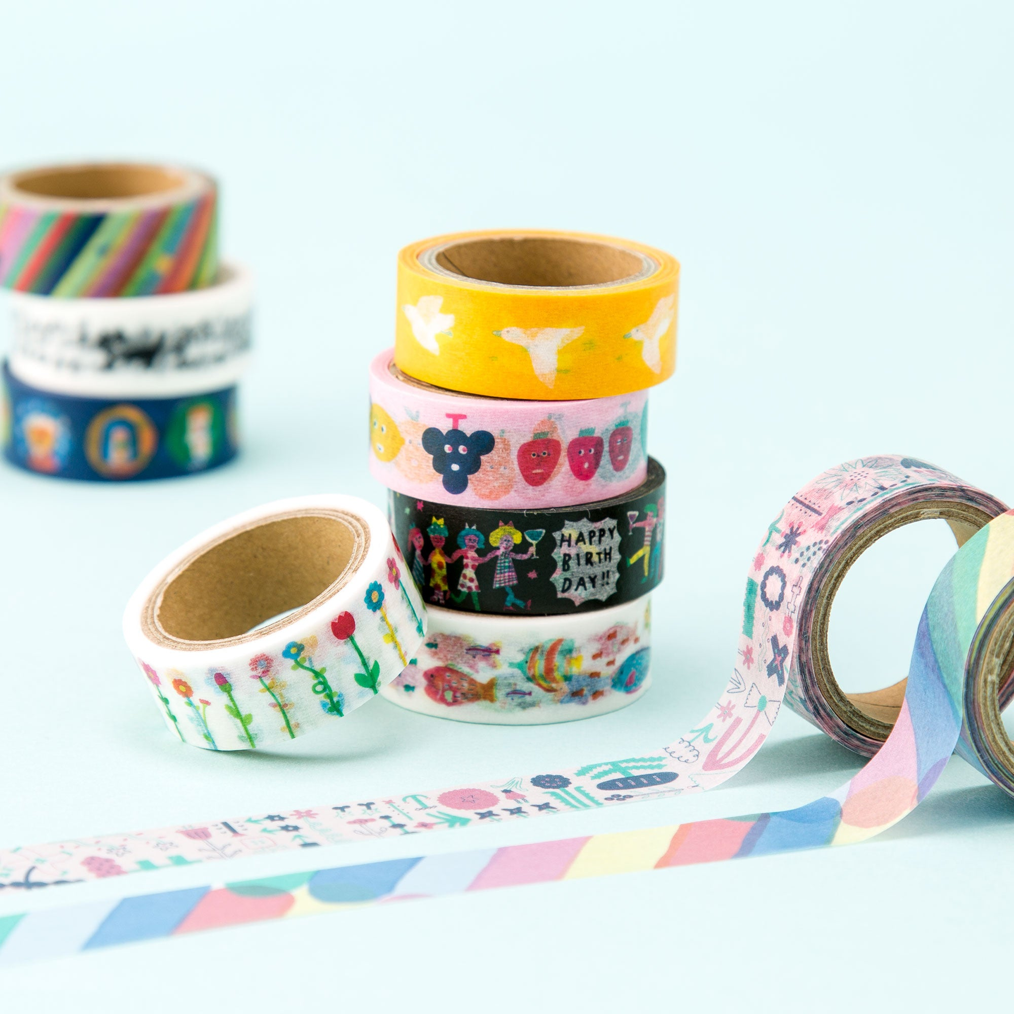 AIUEO Washi Tapes - neko border