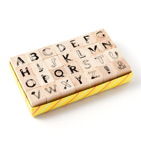 [Discontinued] AIUEO Alphabet Rubber Stamps Set