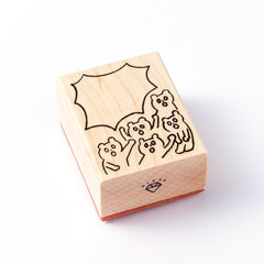 [Discontinued Item]  AIUEO Cheering Bears Rubber Stamp