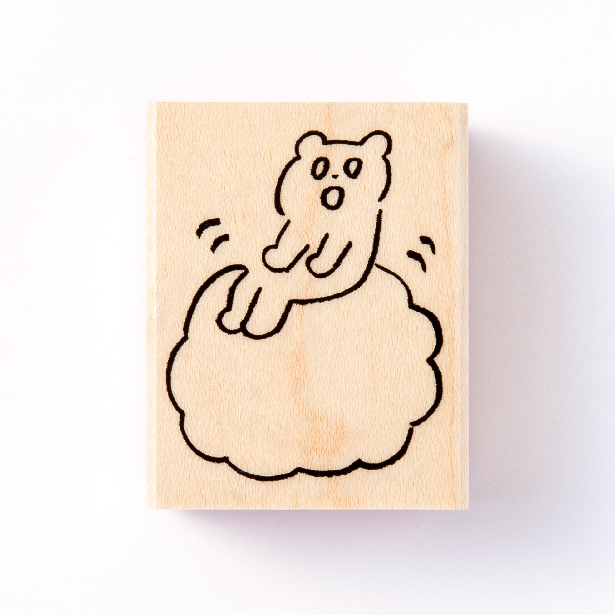 [Discontinued Item]  AIUEO Bear On the Cloud Rubber Stamp