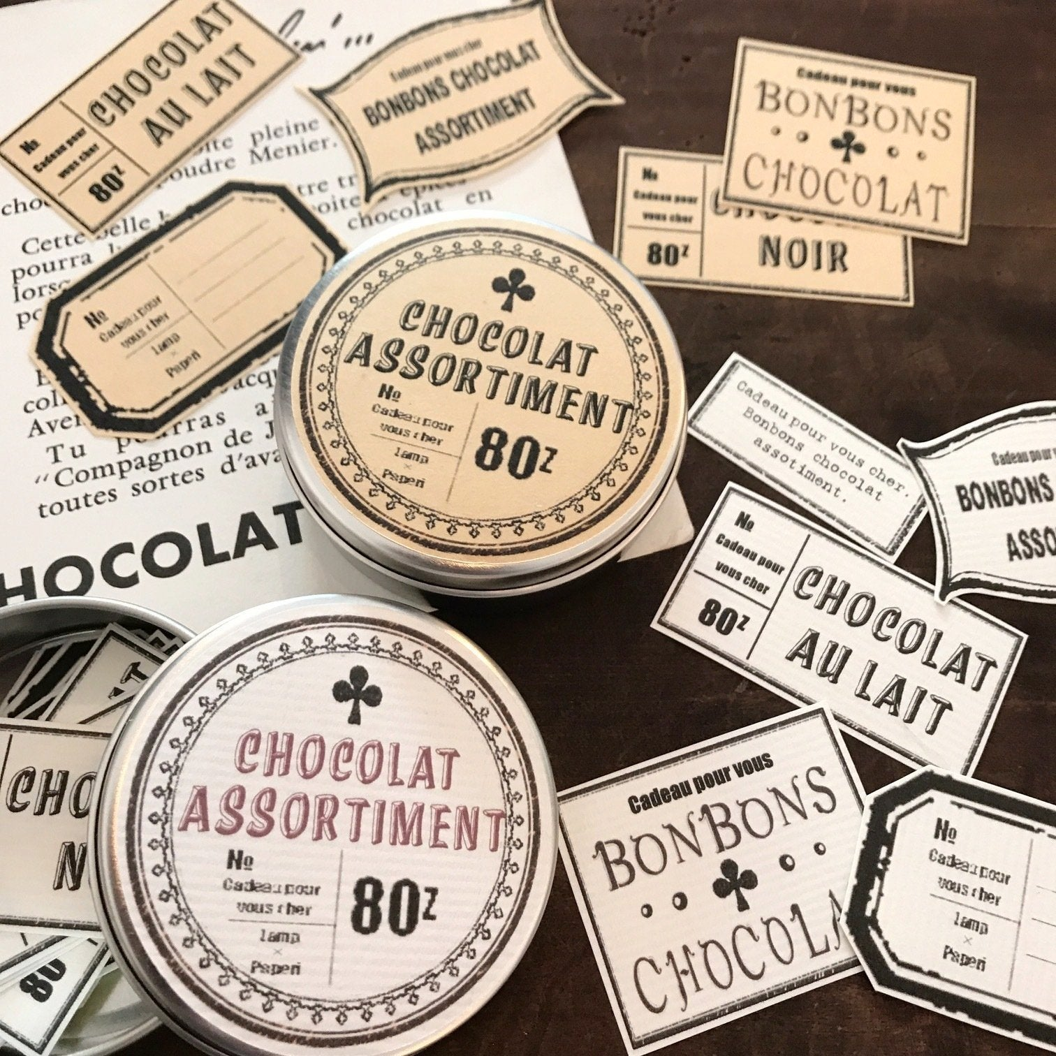 LampxPaperi Chocolate Assortment Label Stickers in Tin
