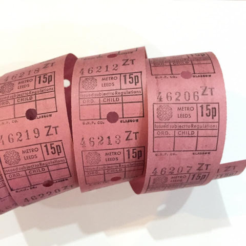 Vintage Bus Tickets Roll - Metro Leeds 15p