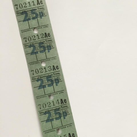 Vintage Bus Tickets Roll - City of Nottingham Trans 25p