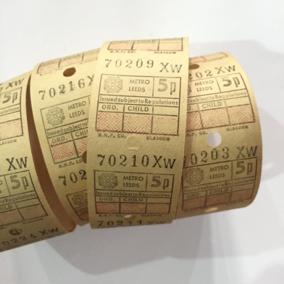 Vintage Bus Tickets Roll - Metro Leeds 5p