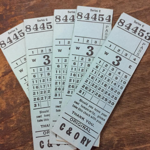 US Vintage Railroad Tickets (5pcs)