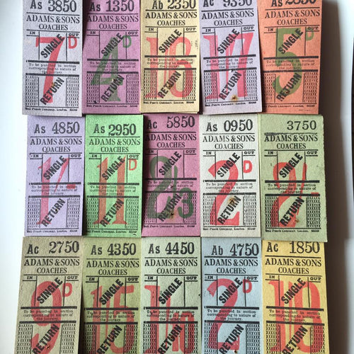 Vintage Tickets Pack - Adam & Sons Coaches Single/Return (50pcs)