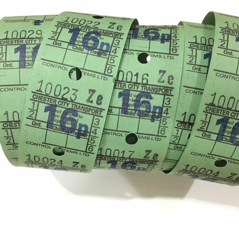 Vintage Bus Tickets Roll - Chester City Transport 16p