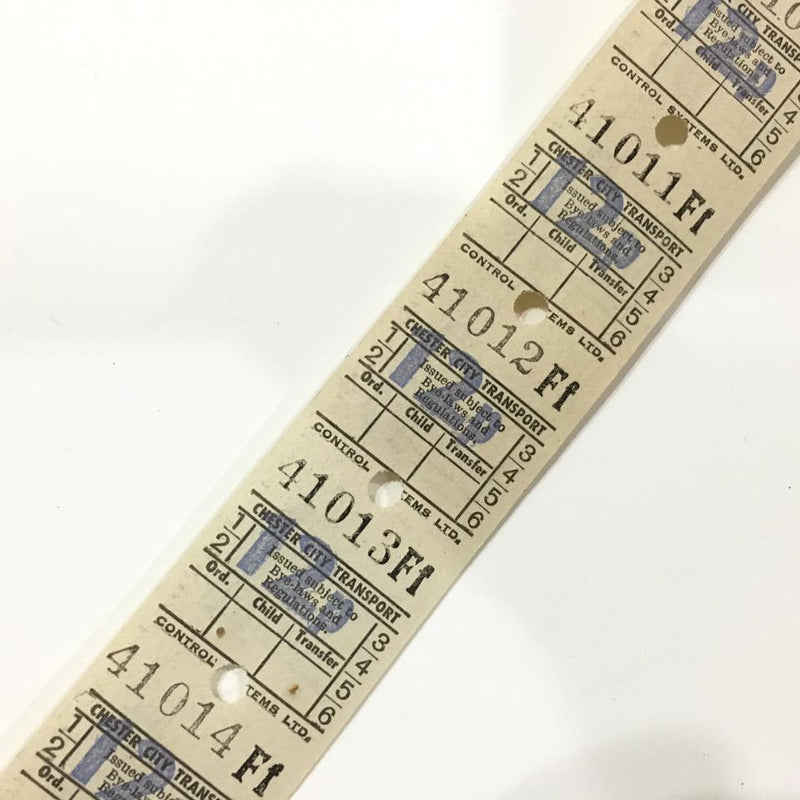 Vintage Bus Tickets Roll - Chester City Transport 12p