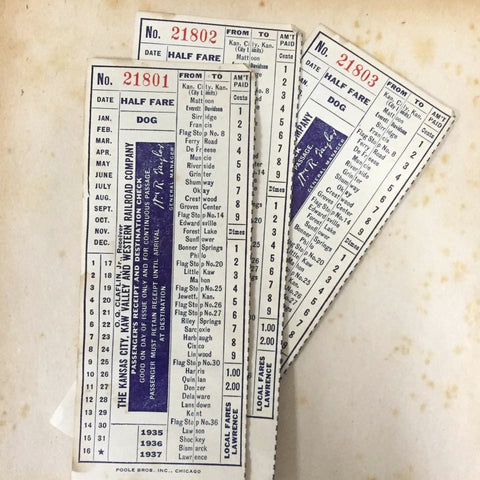 Kansas City Vintage Railroad Check (3pcs)